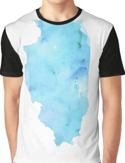 Blue Watercolor Illinois State Graphic T-Shirt