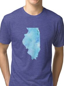Blue Watercolor Illinois State Tri-blend T-Shirt