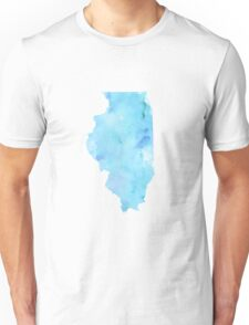 Blue Watercolor Illinois State Unisex T-Shirt