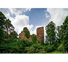 Old medieval fortress ruins of Chateau Landsberg in deep forest, Alsace, France Photographic Print