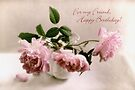 Pink English Roses Birthday Card for a Friend by LouiseK