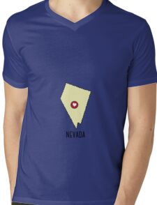 Nevada State Heart Mens V-Neck T-Shirt