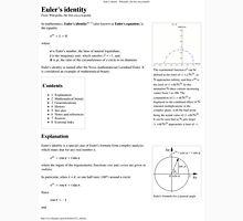 Euler's Identity Math, Mathematics Unisex T-Shirt