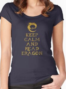 Keep calm and read Eragon (Gold text) Women's Fitted Scoop T-Shirt