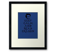 Keep calm and read Eragon (Black text) Framed Print