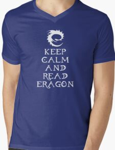 Keep calm and read Eragon (White text) Mens V-Neck T-Shirt