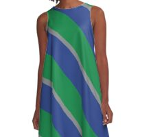 Seattle Washington Green, Gray, and Blue Striped Team Colors A-Line Dress