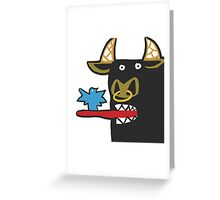 Funny Bull with bird Greeting Card