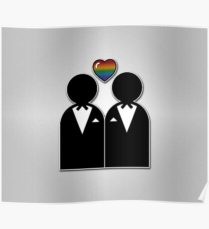 Silhouette Groom and Groom Poster