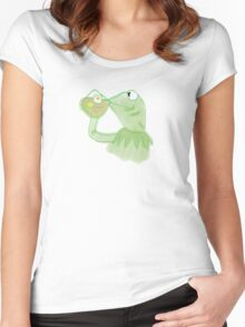 Kermit sipping Tea meme Women's Fitted Scoop T-Shirt