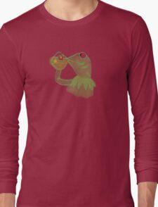 Kermit sipping Tea meme Long Sleeve T-Shirt