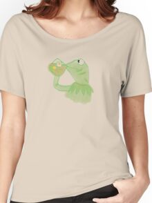 Kermit sipping Tea meme Women's Relaxed Fit T-Shirt