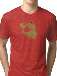 Kermit sipping Tea meme Tri-blend T-Shirt