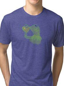 Kermit sipping Tea meme Tri-blend T-Shirt