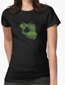 Kermit sipping Tea meme Womens Fitted T-Shirt