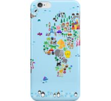 Animal Map of the World for children and kids iPhone Case/Skin