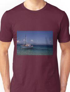 Blue sky, blue sea, white boat. Unisex T-Shirt