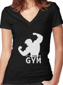 It's time to gym - Gym Motivational Quote Women's Fitted V-Neck T-Shirt