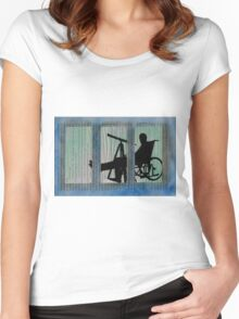 Homage to Alfred Hitchcock Rear Window Impression Women's Fitted Scoop T-Shirt