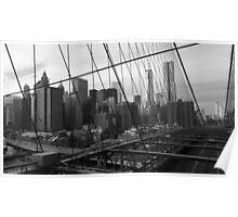 Black White New York Brooklyn Bridge nr 3 Poster