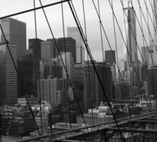 Black White New York Brooklyn Bridge nr 3 Sticker