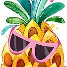 Cute Watercolors Pineapple In Sunglasses Illustration by artonwear