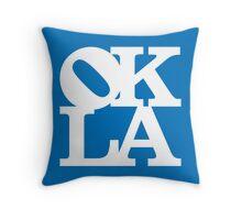 OKLA (White & Blue)-large Throw Pillow