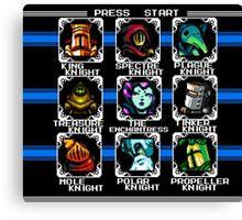 Megaman 2 - Shovel Knight boss select screen Canvas Print