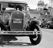 1931 Model A Ford - front view full B&W by henuly1