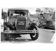 1931 Model A Ford - front view full B&W Poster