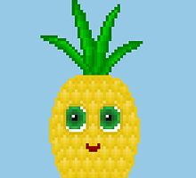 Pineapple Pixel Smile - Blue Background by CraftSalad