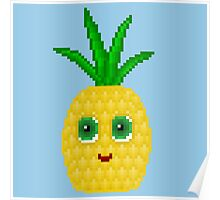 Pineapple Pixel Smile - Blue Background Poster