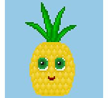 Pineapple Pixel Smile - Blue Background Photographic Print