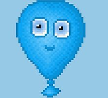 Balloon Pixel Smile - Blue Background by CraftSalad