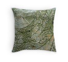 Aboriginal green rock carving  Throw Pillow