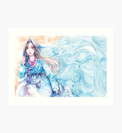 Wavediver - Korean Hanbok Fairytale Manga Illustration Pattern Art Print