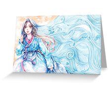 Wavediver - Korean Hanbok Fairytale Manga Illustration Pattern Greeting Card