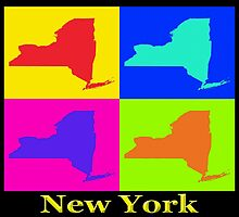 Colorful New York State Pop Art Map by KWJphotoart