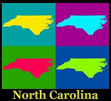 Colorful North Carolina Pop Art Map by KWJphotoart