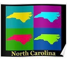 Colorful North Carolina Pop Art Map Poster