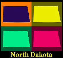 Colorful North Dakota Pop Art Map by KWJphotoart