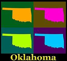Colorful Oklahoma State Pop Art Map by KWJphotoart