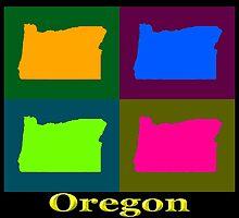 Colorful Oregon Pop Art Map by KWJphotoart