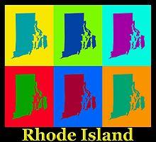 Colorful Rhode Island Pop Art Map by KWJphotoart