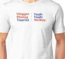 Vlogger Photog Not A Tourist Unisex T-Shirt