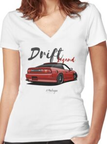 Nissan Silvia S13, 200SX, 240SX (red) Women's Fitted V-Neck T-Shirt