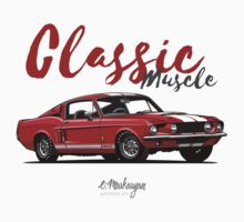 Classic Muscle. 1967 Mustang Shelby GT500 (red) Kids Tee