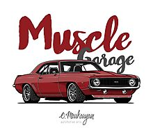 Muscle Garage. Camaro SS 1969 (red) Photographic Print