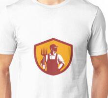 Organic Farmer Pitchfork Crest Retro Unisex T-Shirt