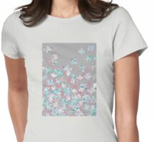 Flight - abstract in pink, grey, white & aqua Womens Fitted T-Shirt